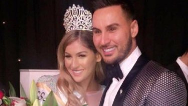 Salim Mehajer poses with his sister Mary Mehajer after her win in the Miss Lebanon Australia 2016 contest.