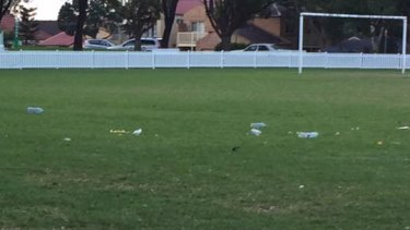 Cans and bottles strewn about  Monash Park at Gladesville on Sunday.