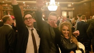 Former reality star Tila Tequila, right, giving a Nazi salute at an alt-right conference in Washington DC.