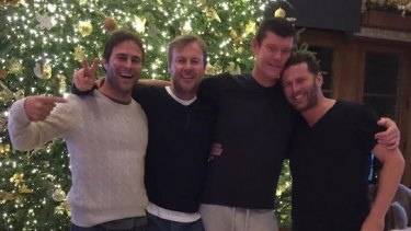 Stefanovic with close friend, billionaire James Packer, and friends.