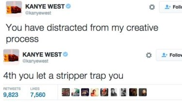 An example of some of Kanye West's now deleted tweets.