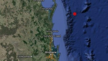 The location of an earthquake that struck off the Queensland coast on Friday morning.