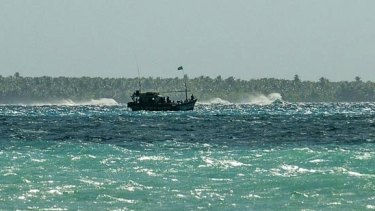 This boatload of suspected Sri Lankan boat people arrived at the Cocos Islands in July 2012.