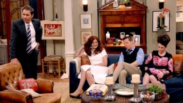 Eric McCormack (Will), Debra Messing (Grace), Sean Hayes (Jack) and Megan Mullally (Karen) on the set of the political viral video which kicked off the Will & Grace revival.
