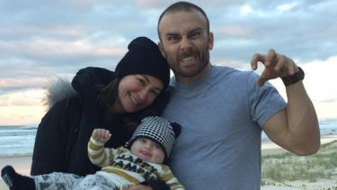 "Michelle Bridges with son Axel and partner Steve ""Commando"" Willis."