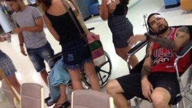 Victims await treatment at the hospital.