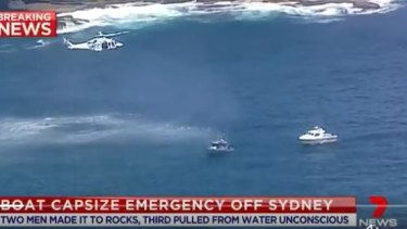 The Westpac Life Saver Rescue Helicopter at a major rescue operation in Kurnell after a boat overturned.