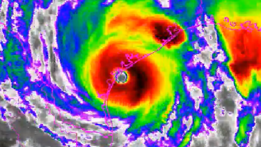 Hurricane Harvey as it crossed the Gulf coast on Saturday.