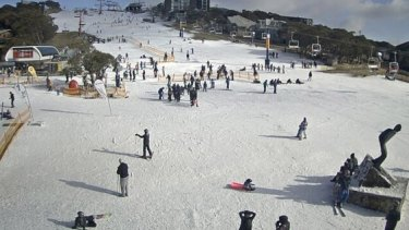 The Bourke Street ski run at Mt Buller last month.