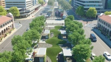 An artist's impression of what the Civic Plaza space could look like. The ACT government has confirmed the new public square would be built, but details on where park and ride or bus interchanges infrastructure will be are not clear.