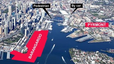 The cable car would provide a new link between Barangaroo and Pyrmont.