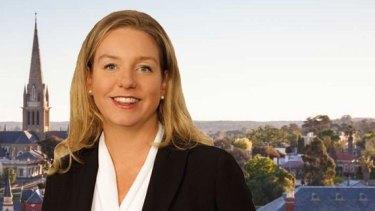 Senator McKenzie's website, with the senator surrounded by the Bendigo skyline