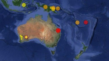 The government's Geoscience Australia website confirms the quake, which hit south-west of Bundaberg on Monday morning. The red spots indicate recent tremors, while yellow represents older earth movements.