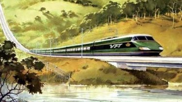 An artist's impression by Phil Belbin of the proposed VFT (Very Fast Train) in the 1980s.