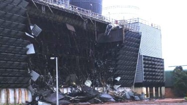 The collapse of the cooling tower at the Muja D power plant near Collie.
