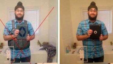 The photoshopped image, left, turned Veerender Jubbal's iPad into a Koran.