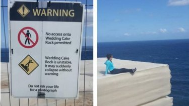 #sorrynotsorry: A sightseer posts a photo of the warning sign, beside a photograph of a woman sitting on Wedding Cake Rock