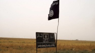 The flag of Islamic State in an area west of Kirkuk in September.