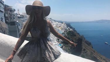 Bree Keller on a recent holiday in Santorini in June.