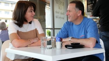 John Key and wife Bronagh have a coffee the morning after the election.