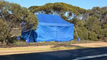 The crime scene where a little girl's remains were found in a suitcase at Wynarka, South Australia.