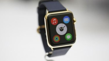 The high-end version of the Apple Watch, called the Apple Watch Edition, is displayed at Apple's launch event this week.