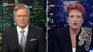 Pauline Hanson is interviewed by Andrew Bolt on Thursday night.