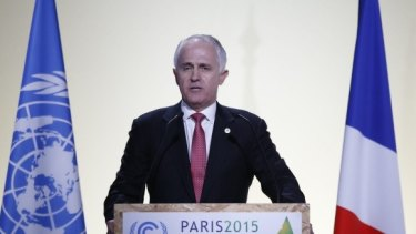 Prime Minister Malcolm Turnbull addressing the Paris climate summit last year.