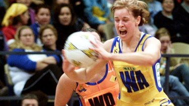 Determined: Briony Akle during her playing days with the Swifts.