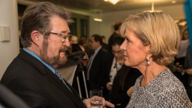 Senator Derryn Hinch with Julie Bishop at the industry event.