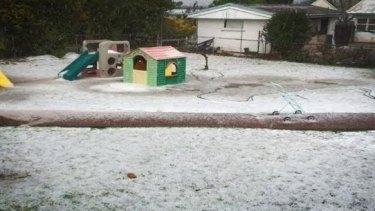 Hail blanketed Toowoomba backyards on Tuesday night.