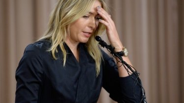 Confession: Maria Sharapova confronts the media in March.