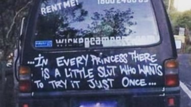Public awareness about offensive slogans became widespread after a Sydney mother noticed this slogan on the back of a Wicked Campers van in 2014. The company apologised and removed the slogan at the time.