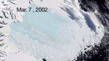 The bulk of the ice shelf had broken up by March 2002.