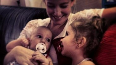Sally Faulkner with her children, Lahala and Noah.