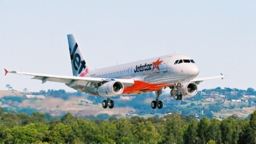 A Jetstar plane (infants not pictured).