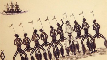This drawing by Tommy McRae depicts the figure of William Buckley with a group of Koorie men.