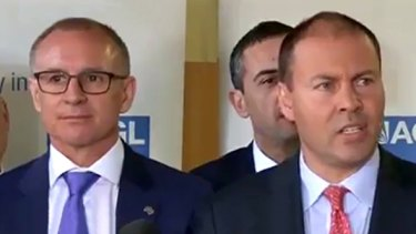 Jay Weatherill and Josh Frydenberg take turns to have a whack at each other.