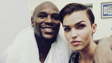 The champ? Floyd Mayweather with Ruby Rose.