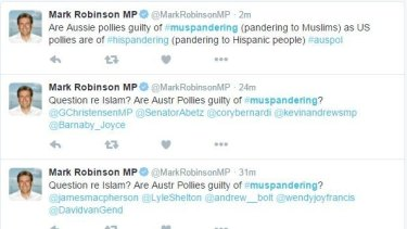 "A screenshot of Mark Robinson's ""Muspandering"" tweets."
