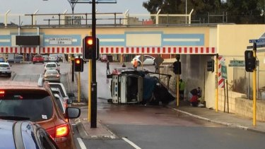 The truck rollover blocked a lane of traffic in Bayswater.
