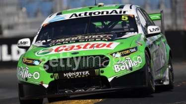 Mark Winterbottom in his Ford Falcon FGX during the  opening round of the Supercars Championship in Adelaide.