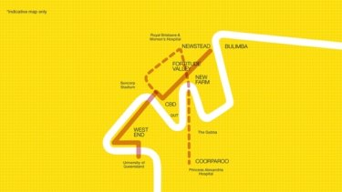 The proposed route of Labor's planned light rail system for Brisbane. The dotted line represents the second stage.