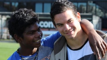 Cousins Maurice Rioli Jnr and Daniel Rioli pictured in August 2016 at Tigerland.