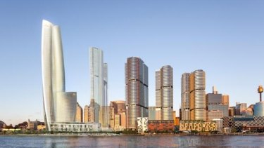 The hotel and casino is on the far left, next to three apartment buildings being built for Crown Resorts by Lendlease named One Sydney Harbour.