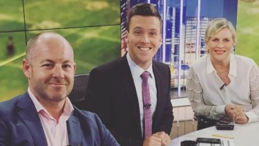 Andrew Webster, James Bracey and Rebecca Wilson on the set of the Sky News Sportsnight show.