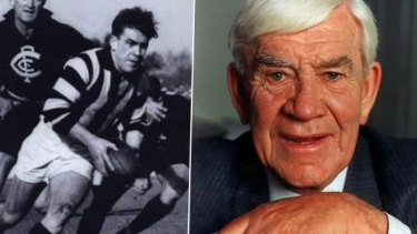 Lou Richards in his playing days, and in later years.