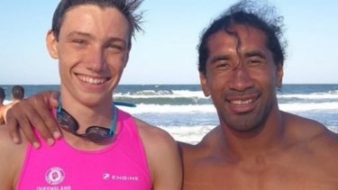Sia Soliola after being saved from the surf at the Sunshine Coast.