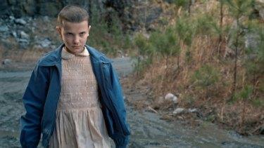 Millie Bobby Brown as Eleven in Netflix's <i>Stranger Things</i>.