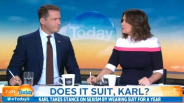 <em>Today's</em> Karl Stefanovic, discussing his famous blue suit with Lisa Wilkinson.